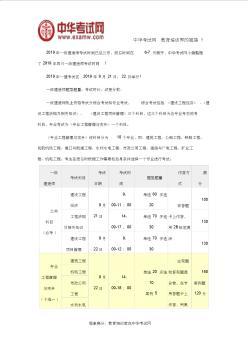 四川2019年一级建造师考试时间