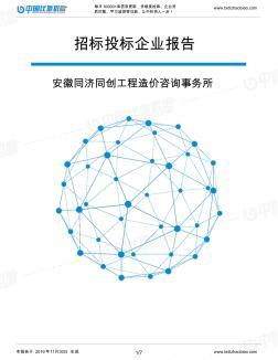 安徽同济同创工程造价咨询事务所-招投标数据分析报告
